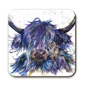 KW - Splatter Scruffy Highland Cow - Coaster