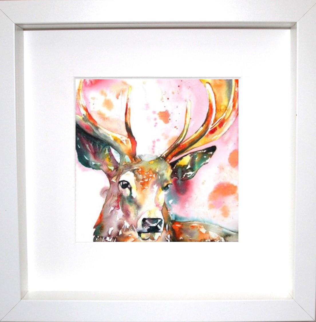Red Tartan scottish Stag canvas art picture